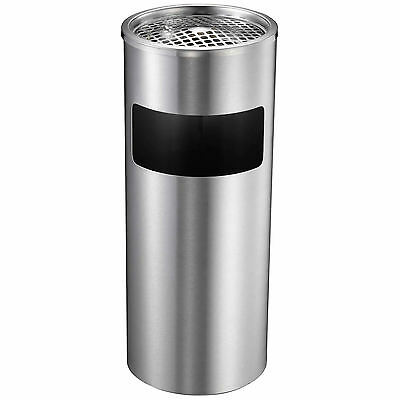 Stainless Free Standing Metal Cigarette/ash Tray Litter/rubbish Bin Outdoor Pub