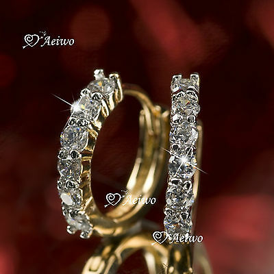 18K Yellow Gold Gf Huggies Made With Swarovski Crystal Earrings