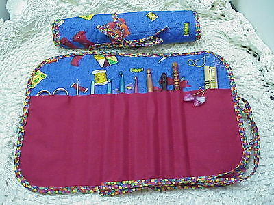 Sewing thread, needlework & quilting on blue quilted crochet hook case / holder