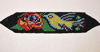 Glass Seed Bead Loom South American Work Hummingbird Bracelet Colombian Beadwork