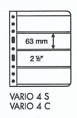 LIGHTHOUSE VARIO 4 STRIP BLACK STAMP ALBUM STOCK SHEETS Pack 5 - Strip size 63mm
