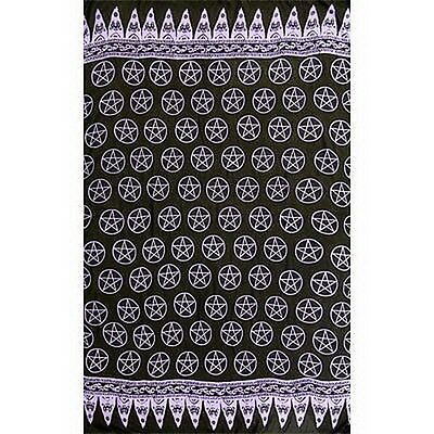 RAYON SARONG: PENTACLES PURPLE Wicca Pagan Witch Goth Punk Hippie ALTAR CLOTH