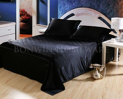 1000TC All Size Soft Silky Satin Fitted Flat Sheet Pillowcase Bed Set Black