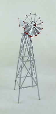 Melody Jane Dolls Houses Garden Outdoor Furniture Silver Red Metal Windmill