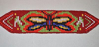 Glass Seed Bead South American Loom Work Butterfly Bracelet, Colombian Beadwork