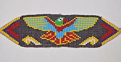 Glass Seed Bead South American Loom Work Eagle Bird Bracelet, Colombian Beadwork