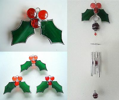 Holly red berries stained glass suncatcher xmas window wall decoration windchime