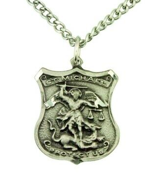 """Saint Michael Patron Police 1"""" Silver Badge Medal w 24"""" Endless Chain Necklace"""