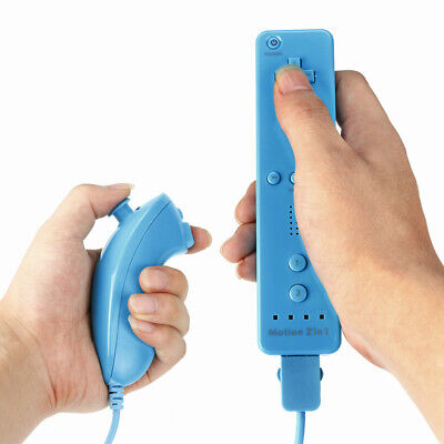 Nunchuck Remote Controller Light Blue Built in Motion Plus for Nintendo Wii
