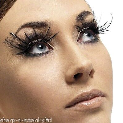 Ladies Long Black Feather False Eyelashes Burlesque Drag Halloween Fancy Dress