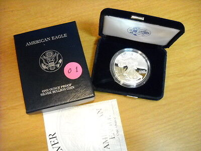 2001 1 oz Proof Silver American Eagle - IRA Approved (w/Box & CoA) 2001 Gem