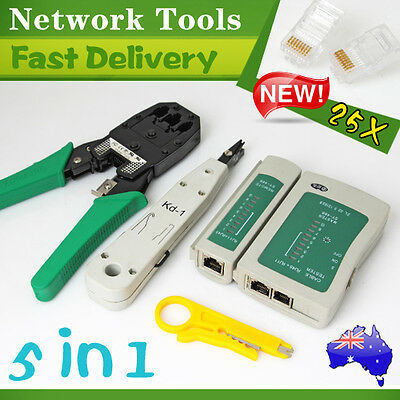 Network Cable Tool Kit Rj45 Tester Lan Crimper Stripper Rj11 Punch Cutter Plugs