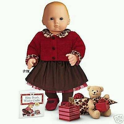 American Girl Bitty Baby's CHOCOLATE CHERRY OUTFIT TIGHTS SHOES BOOK and TOY NIB