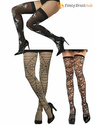 910a6d29507 Ladies Sexy Spider Web Stockings Tights Halloween Witch Vamp Fancy Dress  Costume