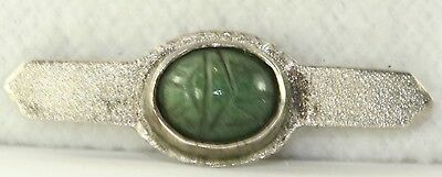 Antique Hand Wrought Arts & Crafts Sterling Silver Scarab Pin