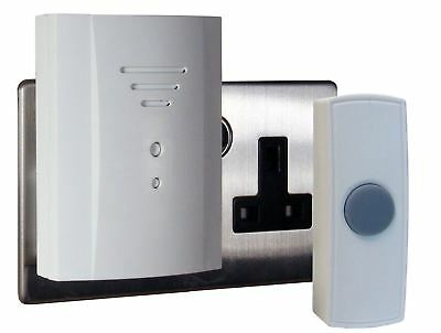 Byron 50M Wireless Wirefree Plug In Door Bell Chime Kit With 2 Sounds White B305