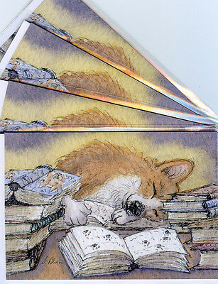 Welsh Corgi dog pup art greeting cards Susan Alison writer writing asleep dozing