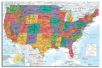 USA United States Map Wall Chart Poster New - Laminated Available