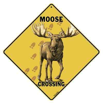 "Moose Metal Crossing Sign 16 1/2"" x 16 1/2"" Diamond shape Made in USA #281"