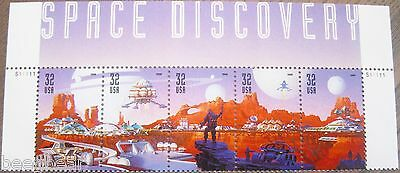 Space Discovery Top Strip Attached Set of 5 MNH OG Stamps Scott's 3238 - 3242