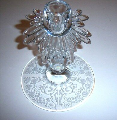 """One New Martinsville Florentine  Etched 6"""" Single Candlestick - Teardrop Flame"""