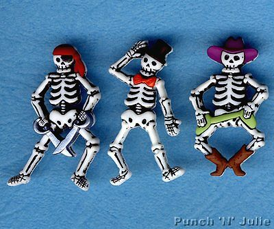 BONE-IFIED CHARACTERS Skeleton Pirate Cowboy Halloween Dress It Up Craft Buttons