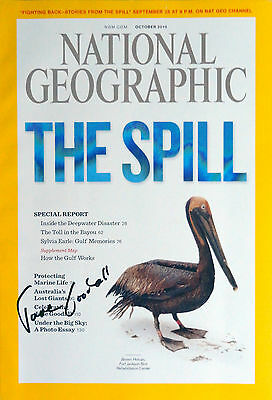 Jane Goodall signed National Geographic magazine / autograph The Spill