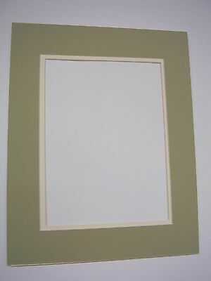 Picture Mat Double Mat 11X14 for 8x10 photo Sage Green with cream liner