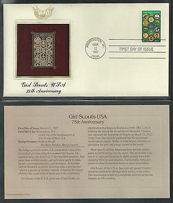 # 2251 GIRL SCOUTS USA, 75TH ANNIVERSARY. 1987 Gold Foil First Day Cover
