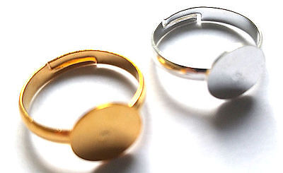 10 x ADJUSTABLE 17mm RING BLANKS WITH 10mm FLAT GLUE PAD ADULT SIZE GOLD SILVER