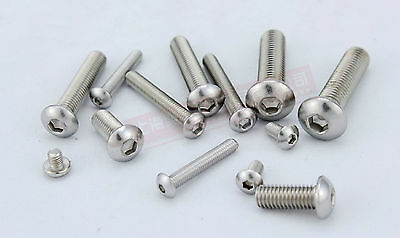 100pcs Metric M4x10mm 304 Stainless Steel Button Head Hex Socket Cap Screw Bolt