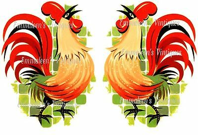 Vintage Image Retro Shabby Extra Large Retro Roosters Waterslide Decals BIR817