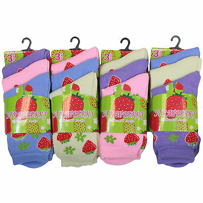 K16 GIRLS 12prs WINTER WARM THERMAL SOCKS STRAWBERRY DESIGN 9-12 12-3 4-7 SIZES