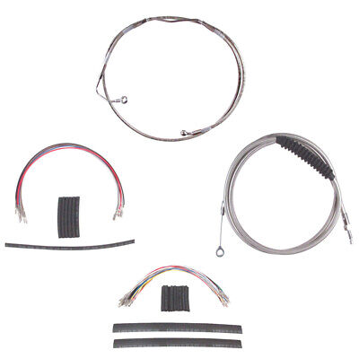 """Stainless Cable & Brake Line Cmpt Kit 20"""" Apes 2008-2013 Harley Touring w/ABS"""