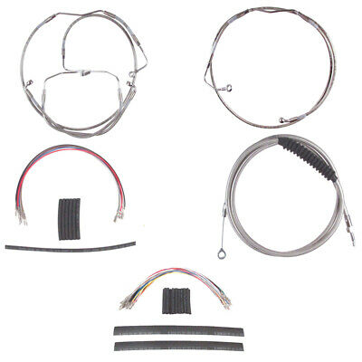 """Stainless Cable & Brake Line Mstr Kit 18"""" Apes 2008-2013 Harley Touring w/ABS"""