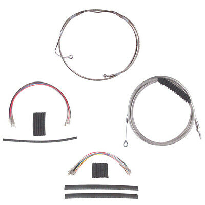 """Stainless Cable & Brake Line Cmpt Kit 18"""" Apes 2008-2013 Harley Touring w/ABS"""