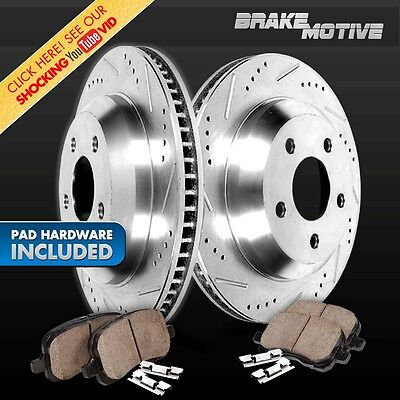 [REAR] PERFORMANCE CROSS DRILLED & SLOTTED BRAKE ROTORS AND CERAMIC PADS M641495
