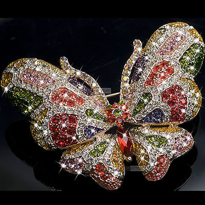 18K Gold Gp Made With Swarovski Crystal Luxury Butterfly Brooch Colorful