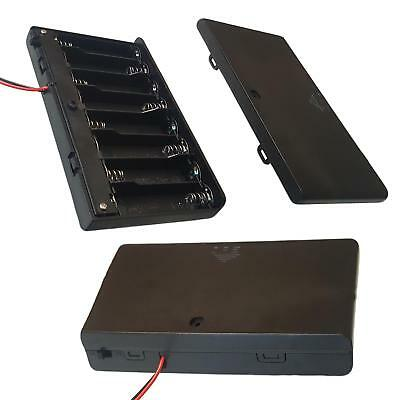 AAx8 / AA x 8 Battery Holder/Case Enclosed Box With On-Off Switch/Leads