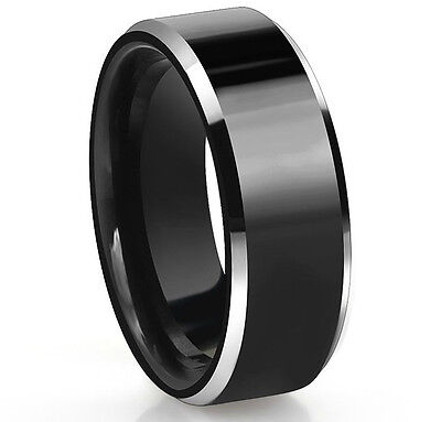 Black Tungsten Carbide Men's 8MM Wedding Band Wedding Ring SR144