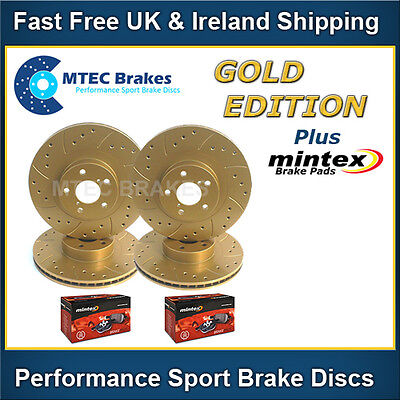 Saxo VTR VTS MTEC Gold Edition Drilled Brake Discs & Mintex Pads Front Rear