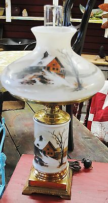 SUPER ANTIQUE VICTORIAN HAND PAINTED house scene OIL LAMP
