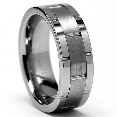 Tungsten Mens Grooved Carbide 8MM All Size Wedding Band Ring Never Tarnish M24