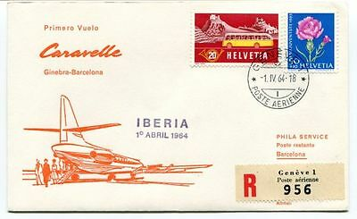 FFC 1964 Iberia Caravelle First Flight Ginebra Barcelona Espana REGISTERED