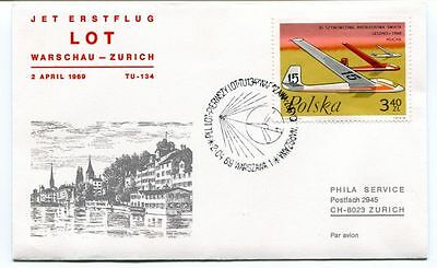 FFC 1969 LOT First Flight Warschau Zurich Polska Jet TU-134