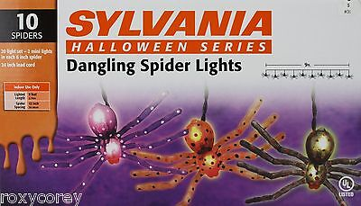 Halloween Sylvania 10 Dangling Spider Lights 9 ft Indoor Use Only 20 Light Set