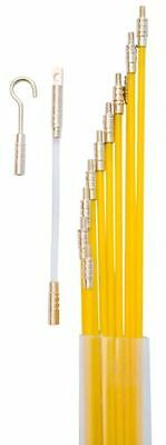 33' Fiberglass Electrical Wire Coaxial Cable Running Rods Kit Fish Tape Pulling