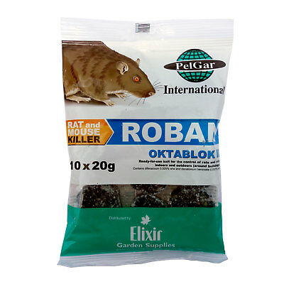 Roban Oktablok II Rat Poison Bait / Mouse Rodent Killer / 10 x 20g Blocks