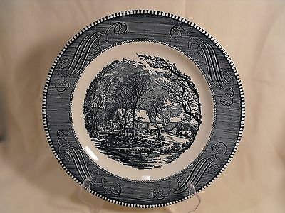 """Royal China  USA Currier and Ives  Blue   Dinner Plate  """"The Old Grist Mill"""""""