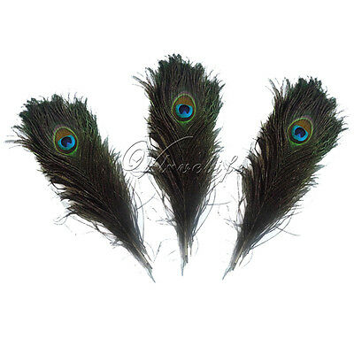 """Real Natural Peacock Tail Eye Feathers 10-12"""" 25-30CM Wedding Party Decor DIY"""